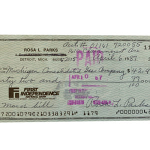 Rosa L Parks Certified Cheque